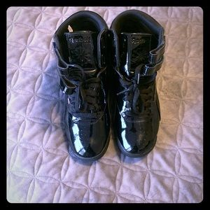 Shiny Black Hightop Reebok's